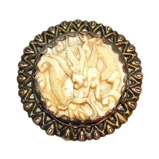 C.1930s Carved Bone Dragon Dress Clip, Chinese Jewelry, 1930s Dress Clip, Dragon Jewelry, Deco-Era Jewelry For Sale