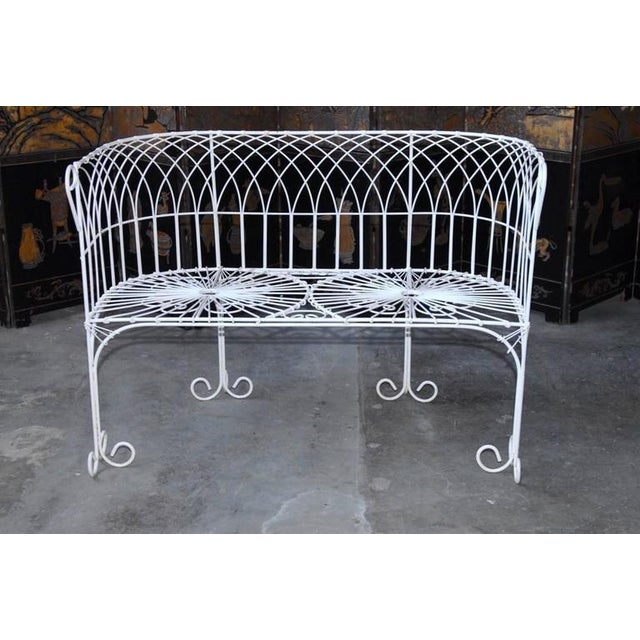 Art Deco French Wrought Iron and Wire Garden Patio Set For Sale - Image 3 of 10