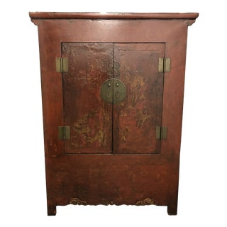 Vintage Dark Wood Armoire With Red Detailed Front For Sale
