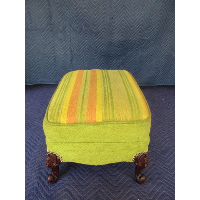 French Style Footstool With Mid-Century Modern Fabric For Sale - Image 4 of 11