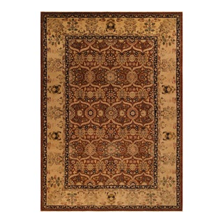 "Semi-Antique Shari Rust/Gold Wool Rug - 9'10"" X 14' For Sale"