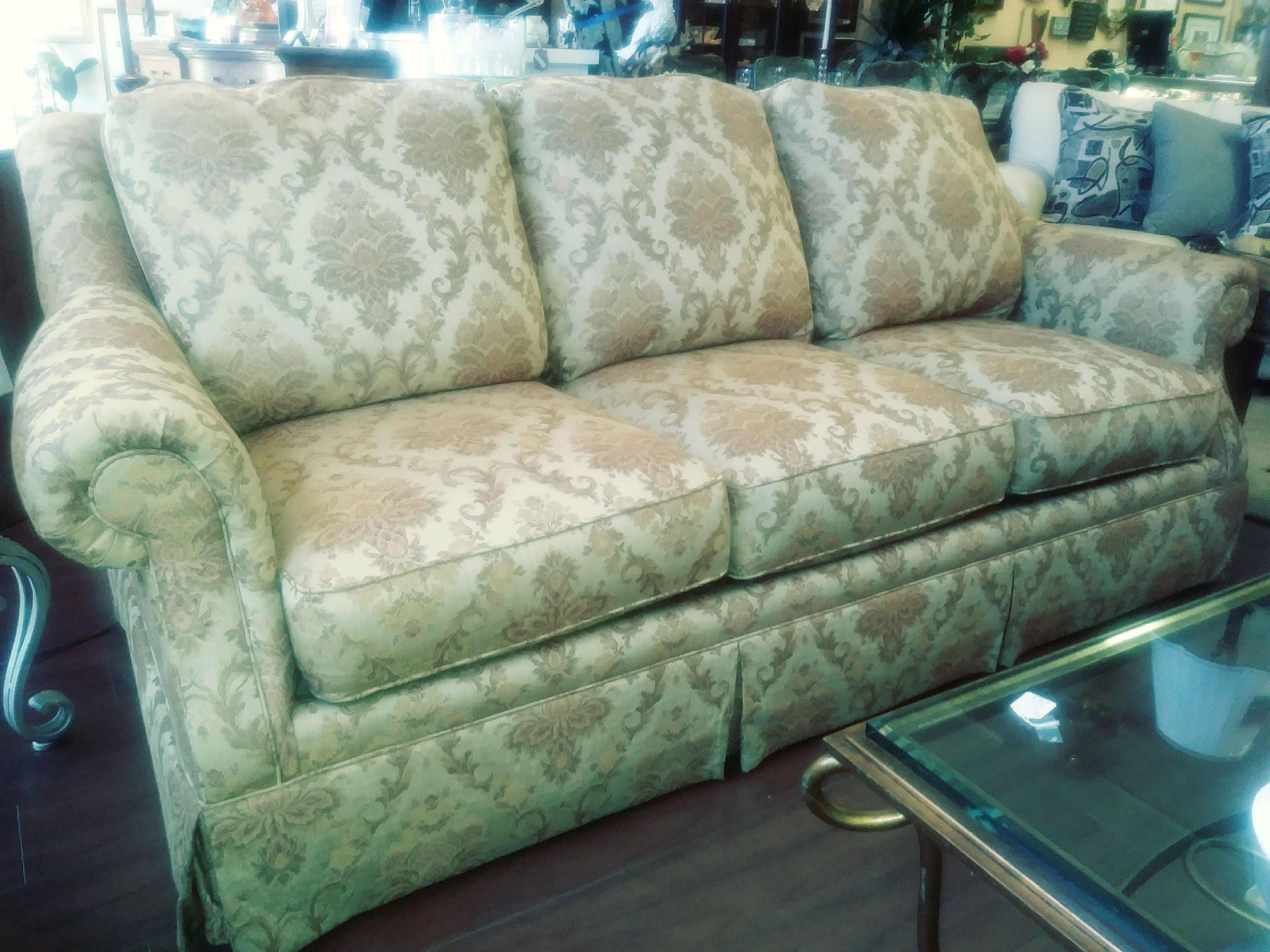 Clayton Marcus Gold Paisley Sofa For Sale   Image 10 Of 10