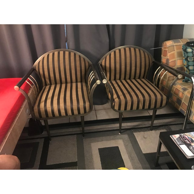 Pierre Cardin Style Gun Metal & Brass Bergere Chairs - A Pair For Sale - Image 11 of 11
