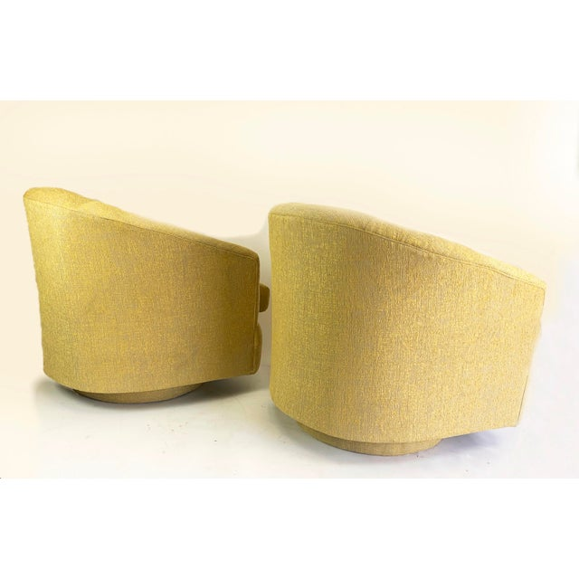 1980s Newly Reupholstered Champagne Gold Swivel Lounge Chairs For Sale In West Palm - Image 6 of 9