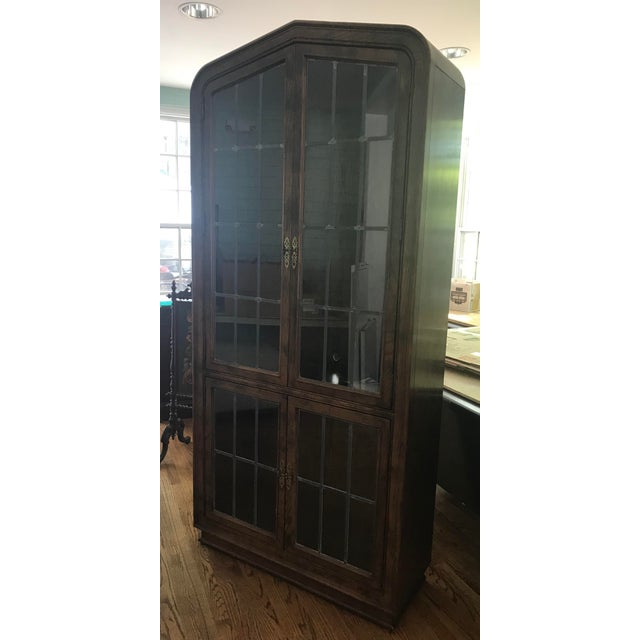 Henredon Lighted Walnut Display Cabinet For Sale - Image 9 of 11
