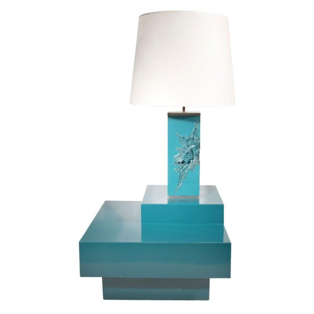 1960s Maison Charles, Lacquered Corner Table and Lamp, France, 1960s For Sale - Image 5 of 5