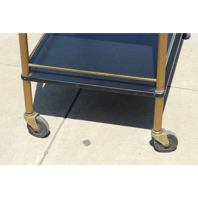 Maxwell Phillip Brass Bar Cart With Black Shelves For Sale In Los Angeles - Image 6 of 9