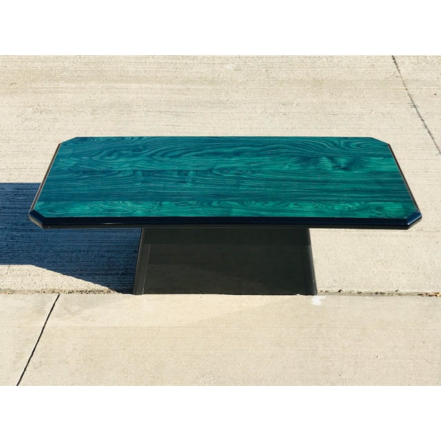 1980s Vintage Wood Coffee Table Malachite Finish For Sale - Image 12 of 12