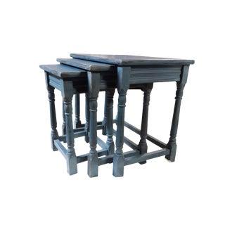 English Tavern Style Shabby Farmhouse Coastal Cottage Nesting Tables- Set of 3