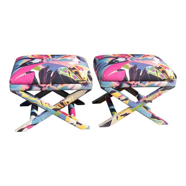 Diane Von Furstenberg Post Modern Butterfly Explosion X Benches - a Pair For Sale