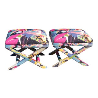 Pair of Diane Von Furstenberg Post Modern Butterfly Explosion X Benches For Sale