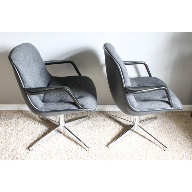 1980s 1980s Vintage United Chair Tufted Grey Tweed Pollock Style Chairs- A Pair For Sale - Image 5 of 10