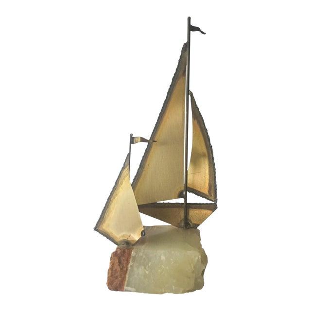 1970s Mario Jason Originals Brass Sailboat For Sale