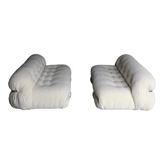 Afra & Tobia Scarpa Soriana Settee's for Cassina in Bouclé, Circa 1975 For Sale