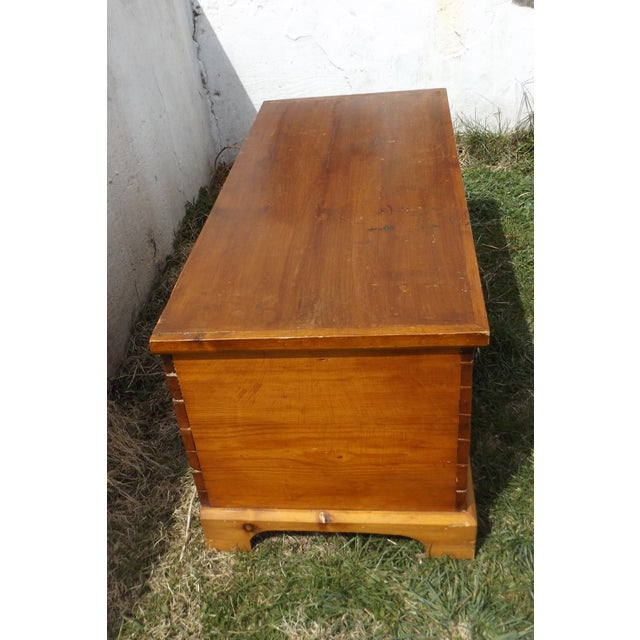 Country Primitive Antique Dovetailed Pine Hope Chest For Sale - Image 3 of 10