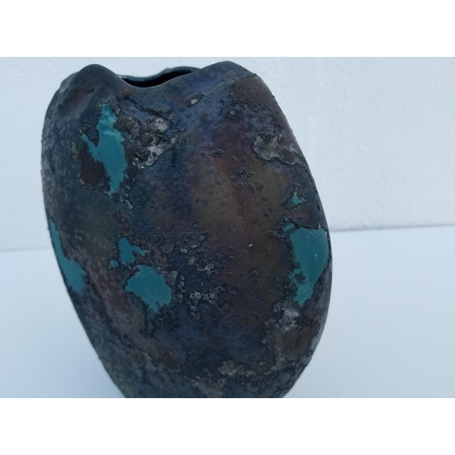 Green Tony Evans Art Raku Vase For Sale - Image 8 of 10