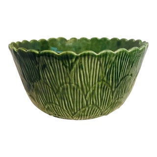 Vintage Large Green Ceramic Serving Bowl Made in Portugal For Sale