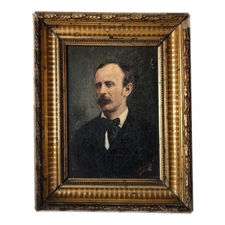 19th Century French Gentleman Portrait Oil Painting by Louis Vernanchet