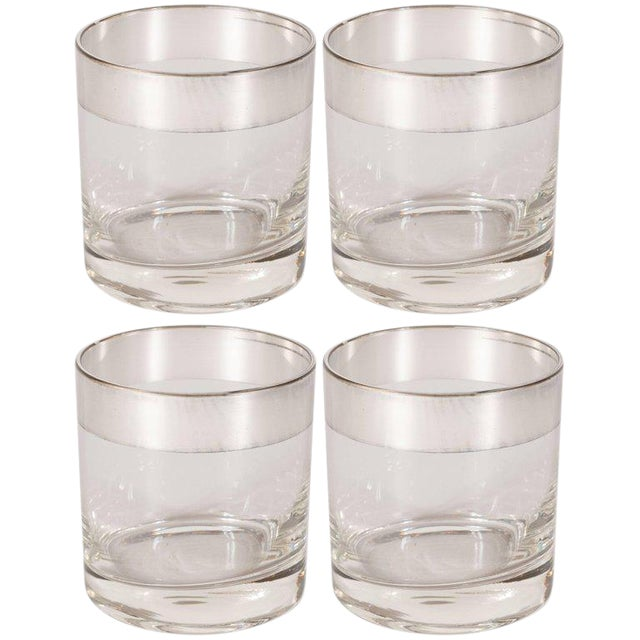 Mid-Century Low Ball Glass With Sterling Silver Overlay by Dorothy Thorpe - Set of 4 For Sale