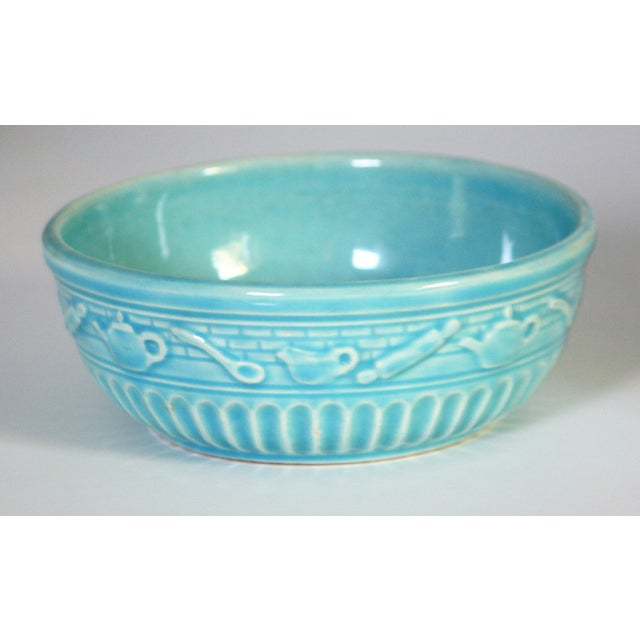 "Very appealing Roseville Pottery Company Bowl--light blue measuring 2 1/4"" high and 6 1/4"" wide Roseville Pottery Company..."