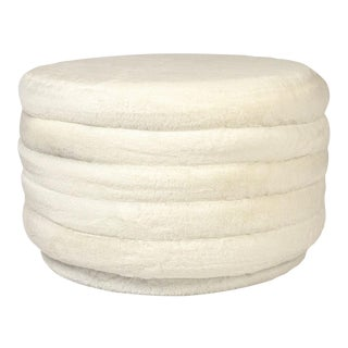 Acovet White Faux Fur Ottoman in White For Sale