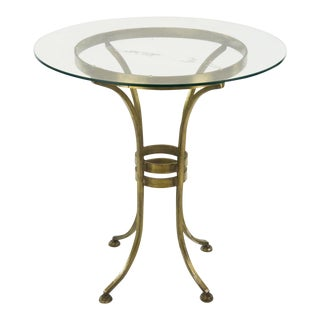 Campaign Style Gaffney Glass & Brass Side Table