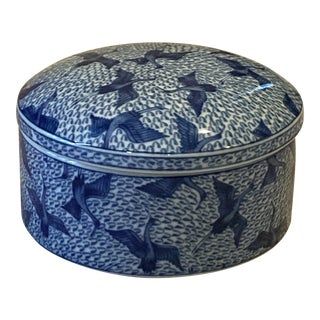 Vintage Blue and White Handpainted Porcelain Covered Round Box For Sale