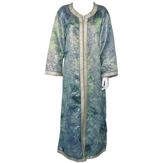 Moroccan Caftan Maxi Dress Brocade Aquamarine Blue and Silver Size M to L For Sale