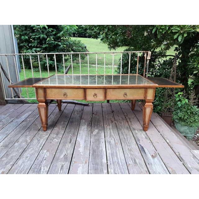 Gold Theodore Alexander Eglomise Gilded Wood and Glass Coffee Table With 3 Drawers and 2 Leather Pull Outs For Sale - Image 8 of 13