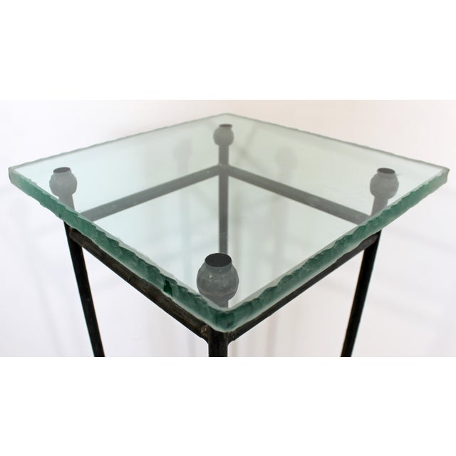 Contemporary Modern Square Steel & Frosted Glass Pedestal Display Stand 1980s For Sale In Detroit - Image 6 of 7