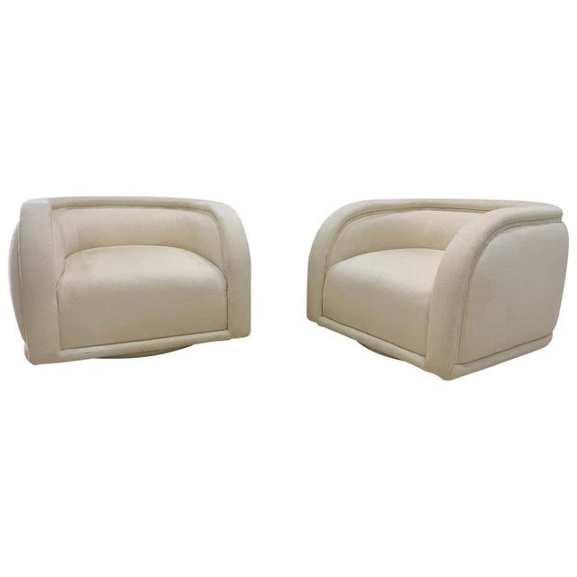 Wood Vladimir Kagan Style Directional Swivel Club Chairs - a Pair For Sale - Image 7 of 7
