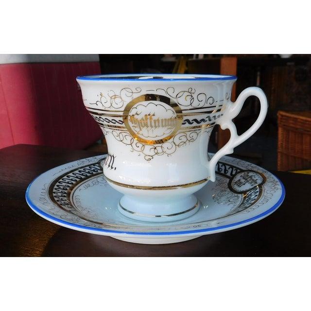 Antique German Victorian Porcelain Dem Hausherrn Decorated Cup & Saucer C1900 For Sale - Image 9 of 9