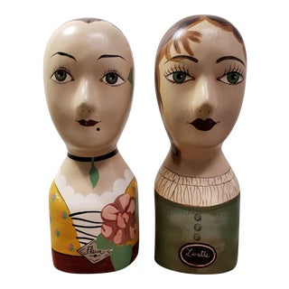 Antique Millinery Hat Forms and Display Mannequin - A Pair For Sale