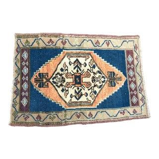 Turkish Handmade Orange and Blue Rug For Sale
