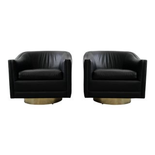 Pair of Mid-Century Leather Swivel Chairs With Brass Bases by Harvey Probber