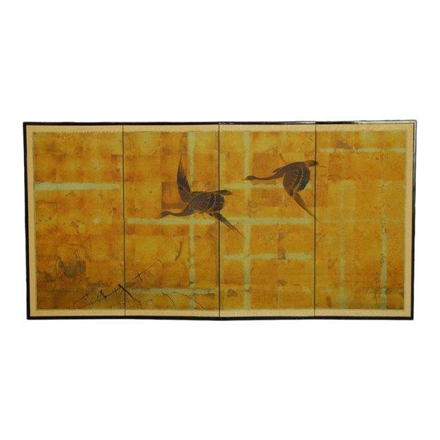Japanese Four-Panel Byobu Screen Autumn Geese For Sale