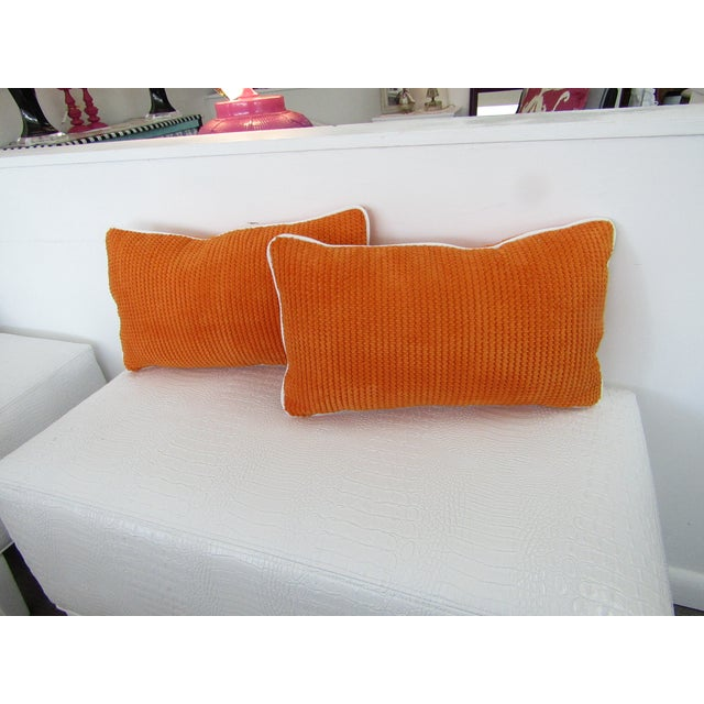 Orange Chenille Lumbar Pillows - A Pair For Sale In West Palm - Image 6 of 6