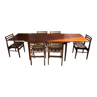 Vintage Mid Century Modern Danish Dining Set - 7 Pieces For Sale
