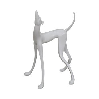 Contemporary Vintage White Whippet Greyhound Dog Statue Sculpture