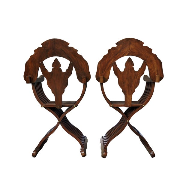 Late 20th Century Magnificent Persian Savonarola Folding Solid Rosewood, Brass & Copper Inlayed Armchairs - a Pair For Sale - Image 5 of 8
