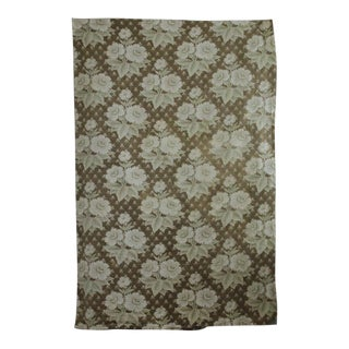 Antique French Fabric Belle Epoque C1880 Khaki Sage Green Printed Cotton For Sale