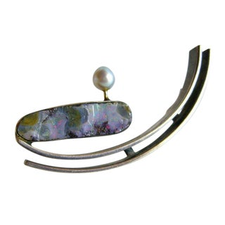 Rare Idella La Vista Blue Pearl Opal Sterling Silver Brooch For Sale