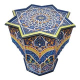 Image of Moroccan Lg Ceuta 5 Painted and Carved Star Table, Multi-Color For Sale
