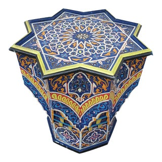 Moroccan Lg Ceuta 5 Painted and Carved Star Table, Multi-Color For Sale