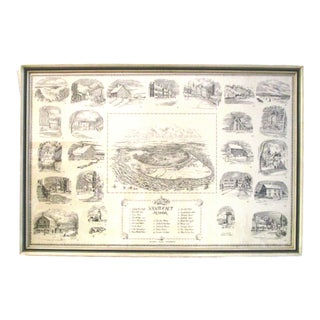 Mid-Century Flavor of Nantucket Framed Map For Sale