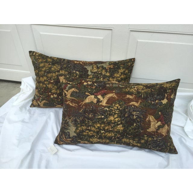 English Fox Hunt Linen Pillows - Pair - Image 6 of 8