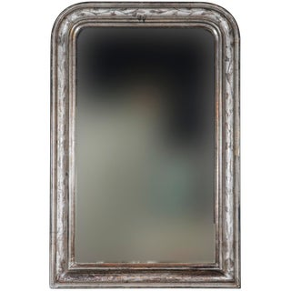 19th Century Louis Philippe Silver Leaf Mirror With Incised Leaf and Vine Design For Sale