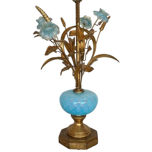 Vintage Murano glass Floral Spray Lamp. Table lamp in the form of a floral spray with 4 blue glass flowers, wheat stalks...