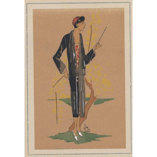 "This is an original French Art Deco pochoir from a RARE portfolio called ""Trés Parisien"" dated 1924. The portfolio was..."