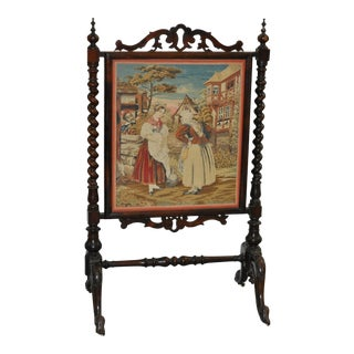 19th C. Hand Carved Mahogany & Petit Point Fire Screen For Sale